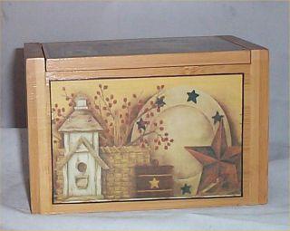 Home Decorating on Recipe Box Bamboo Primitive Star Kitchen Decor Folk Art Home Decor  2
