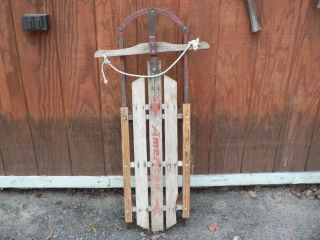 METAL WOOD RUNNER RAIL CLASSIC SLED VINTAGE SNOW TOBOGGAN SNOW SLED