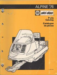 1976 Ski Doo Alpine Snowmobile Parts Manual