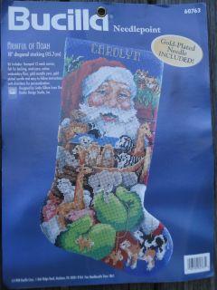 Bucilla Christmas Santa Armful Of Noah Needlepoint Stocking Kit