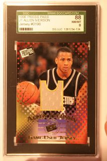 1996 Press Pass J1 Allen Iverson Jersey 0196 SGC 88
