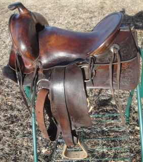 Bona Allen Antique High back Western Ranch Leather Saddle 15 inch FREE