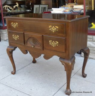 1970s Solid Cherry Ethan Allen Georgian Court Lowboy