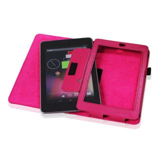 Pink PU Leather Folio Stand Case Cover Stylus for Google Nexus 7 7