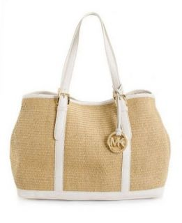 Michael Kors Amagansett Lg TOTE BAG NWT $168 paper straw white leather
