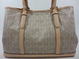Michael Kors Amagansett Monogram Buff Khaki Coated PVC Tote Bag Purse