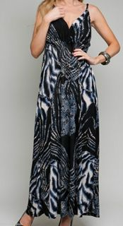 Size 2X DRESS Womens Plus Black Gray TANK TOP ROMAN FASHION Summer NWT
