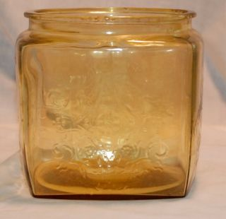 Federal Depression Glass Madrid Amber Cookie Jar No Lid