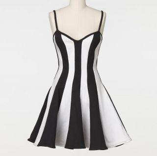 Amber Rose Vintage Climax by Karen Okada Black White Stripe Dress Size