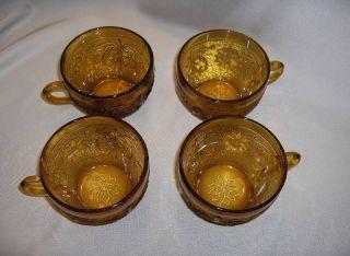 Tiara Indiana Glass Sandwich Amber 4 Cups