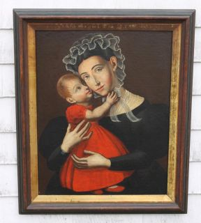 18thC Antique American Folk Art Portrait Oil Painting Mother Baby