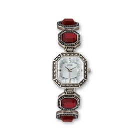 1928 Ladies Silver Tone Antiqued Red Crystal Band Watch