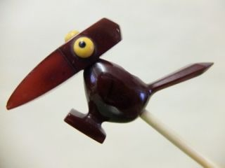 Exceptional Art Deco Cherry Red Amber Bakelite Pipe Crazy Bird Dunhill