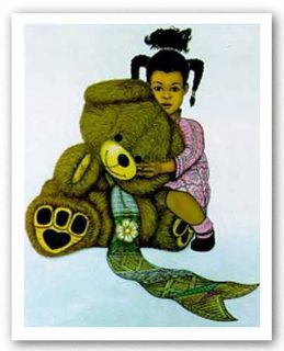African American Art Girl with Teddy Bear by Griffin