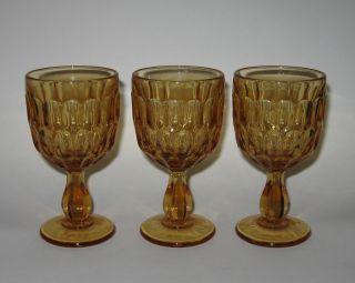 Fenton Glass THUMBPRINT Colonial Amber Wine Glasses Set of 3