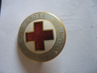 Vintage American Red Cross Volunteer Enamel Pin Pinback