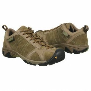 Keen Womens Ambler Leather Hiking Shoes Chocolate Chip Jade Green