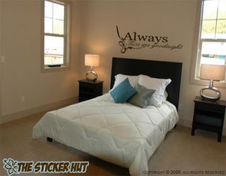 Always Kiss Me Goodnight Wall Lettering Text Words Decals Stickers 264