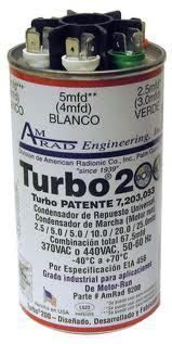 TURBO 200 UNIVERSAL MOTOR RUN CAPACITOR HVAC Heating A C Heat Pump