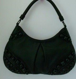 BURBERRY Black Leather Studded Alverton Large Hobo Handbag NWT $1295