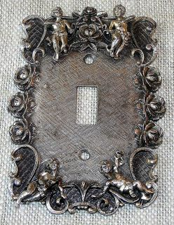 VINTAGE Silver Tone Metal Wall Electric Switch Plate Cover with
