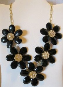 Authentic Amrita Singh Nancy Black Resin Crystal Rhinestone Fashion