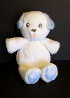 Amy COE Small 7 White Blue Stuffed Puppy Dog Baby Toy