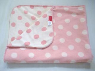 Amy COE Pink Polka Dot Fleece Stitched Edging 2 Tone Blanket