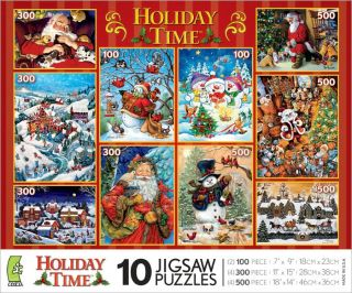 Christmas HOLIDAY TIME New Santa Claus Snowman Tree Eve NIB 10 Jigsaw
