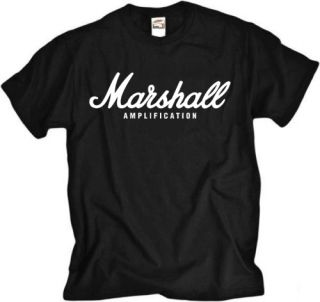 Marshall Amp Rock Band Guitar Drum Metal Black T Shirt
