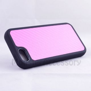 Pink Black Carbon Style V2 Hybrid Hard Case Cover for Apple iPhone 5
