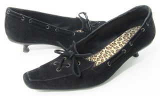 Andre Assous Black Suede Leather Heels Pumps Boat Shoe Bow Kitten