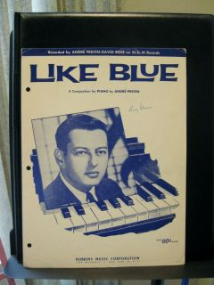 Andre Previn LIKE BLUE Composition for Piano Solo Sheet Music 1960