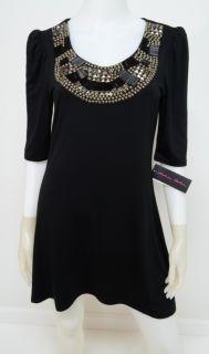 Andrea Behar L Large Dress Black Studded Bead Scoopneck A Line Knit $