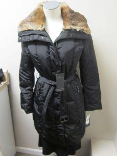 Andrew Marc Down Coat with Rabbit Fur Collar Black $550