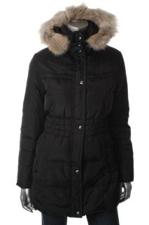 Andrew Marc New Black Cinched Waist Hooded Coyote Fur Trim Puffer Coat