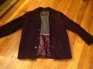 Mens Andrew Fezza Suede Leather Dark Brown Jacket Coat. Size Medium