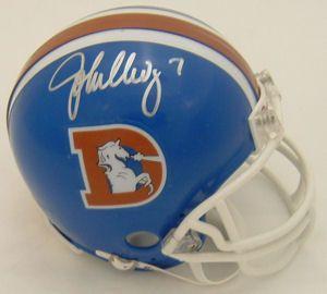 John Elway Signed Denver Broncos D Logo Mini Helmet