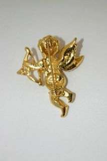 Kirks Folly Small Angel Cherub Crystal Brooch Pin Signed Wings Bow