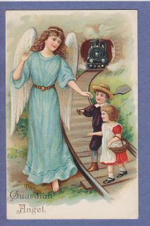 0811* ASB VINTAGE PC GUARDIAN ANGEL PROTECTS CHILDREN FROM TRAIN