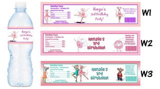 Angelina Ballerina Printed Water Bottle Labels Birthday Party Favors