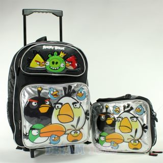 rovio angry birds and king pig 16 roller backpack and lunch bag set