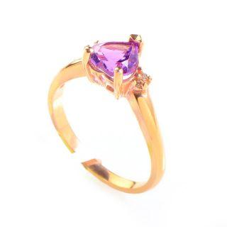 14k Rose Gold Amethyst Heart Diamond Ring