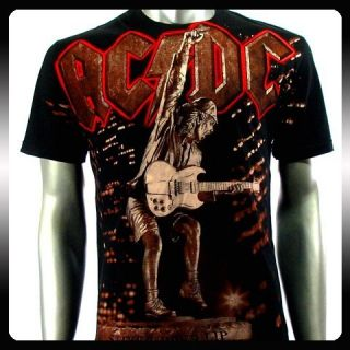 AC DC Angus Young Heavy Metal Rock Music T Shirt Sz L Biker Men A41