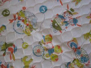 Baby Crib Blanket Quilted Animal Print Yellow Satin Border Chicks