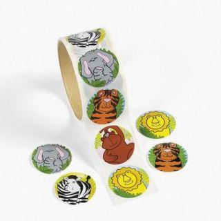 100 Safari Zoo Animal Stickers Birthday Party Favor