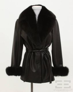Andrew Marc Black Leather Fox Fur Belted Jacket Size M
