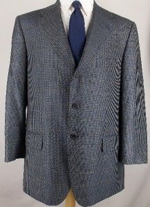 44 R Harold Powell Gray Blue Gold Houndstooth Sport Coat Jacket Suit