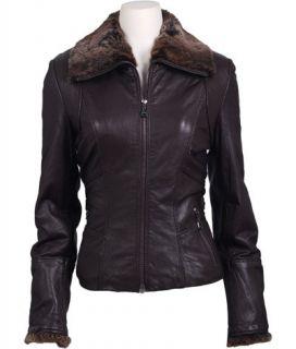 NWT 406 Andrew Marc DARIA Leather Rabbit Trim Coat Brown sz S