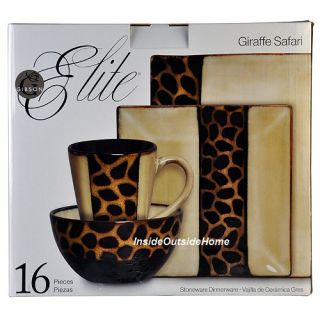 Safari Giraffe Animal Print Dinnerware Stoneware 16 pc Set NIB